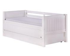 Cama MULTI estilo Sofá-cama três em um. Essa é uma cama, ou um sofá-cama que possuí na parte inferior uma bicama auxiliar e mais duas gavetas! Incrível não é? Assim você organiza bem o quarto, além de acomodar visitas com conforto e praticidade. #crofths #camamulti #camacombicama
