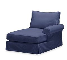 PB Comfort Roll Arm Slipcovered Right Arm Chaise, Box Edge Polyester Wrapped Cushions, Linen Blend Peacoat Navy