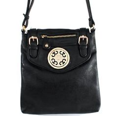 """Click Here and Buy it On Amazon.com $29.99 Amazon.com: New Arrival """"Designer Inspired"""" Unique Zipper and Buckle Detailed Solid Messanger Bag / Crossbody Bag in Black: Clothing"""