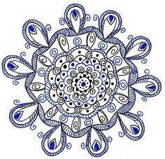 Black and Blue #mandala, #arttherapy,#doodle, #circle