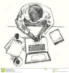 Sketch Hands Computer Man Office Top View Drawn Stock Vector - Image: 58325676