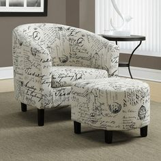 Find Monarch Specialties Accent Chair and Ottoman Set, Vintage French Fabric in the Accent Chairs & Recliners category at Tractor Supply Cheap Living Room Sets, Chair And Ottoman Set, Chair Cushions, French Fabric, French Chairs, Barrel Chair, Living Room Chairs, Dining Chairs, Modern Chairs