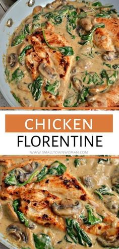 A family favorite that combines golden brown chicken breasts, mushrooms, spinach and garlic in a creamy white wine Parmesan sauce! This Chicken Florentine is the perfect dinner recipe when served over rice, angel hair pasta, or mashed potatoes! Save this Chicken Spinach Recipes, Chicken Mushroom Recipes, Chicken Spinach Mushroom, Spinach And Meat Recipe, Recipe For Chicken, Chicken Fillet Recipes, Spinach Stuffed Mushrooms, Spinach Stuffed Chicken, Baked Chicken