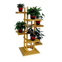 Support pour plante en bois à 6 niveaux avec socle