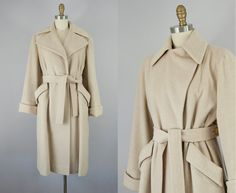 1940s vintage tan wool coat from Bonwit Teller high-end department store. Beautifully tailored. Perfect everyday winter coat. Belted closure with