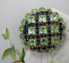 Austria Signed Green & Blue Rhinestone Checkerboard Dome.I HAVE A SIMILAR ONE TO THIS. . MINE IS RED. IT ONCE BELONGED TO JANET 'S MOM.