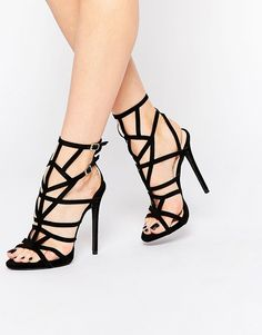 Image 1 of Public Desire PK Caged Gladiator Heeled Sandals