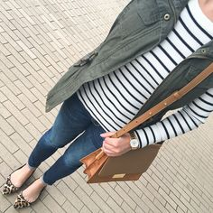 Petite friendly utility vest, striped sweater with elbow patches, leopard flats, petite ankle skinny jeans, Abril shoulder bag, fall outfit, petite outfits - click the photo for outfit details!