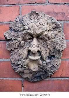 Ceramic Wall Plaque Old Man Of The Woods With Oak Leaves A Pagan ...