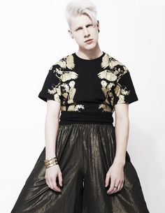Antiform Gold Epic Trousers made from upcylced waste material with A Question of Black and Gold t-shirt made from organic cotton. http://yawstore.com/collections/womens/products/antiform-gold-epic-trousers
