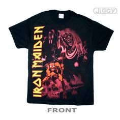 """JiGGy.Com - Iron Maiden - Number Of The Beast T-Shirt Iron Maiden t-shirt with album cover artwork from hand's down the greatest heavy metal album of all time, """"Number of the Beast"""" released in 1982. Also featured on the front is the band's block letter logo in yellow text. Printed on a black 100% cotton t-shirt."""