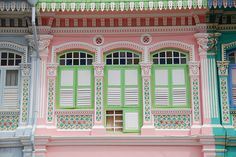 Pink and green pastel house - a little too much.