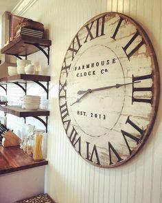 Extra Large Roman Numeral Farmhouse Clock Co. 40 inch wooden clock Extra Large Roman Numeral Farmhouse Clock Co. by BushelandPeckFarm Kitchen Wall Clocks, Dining Room Wall Decor, Dining Room Design, Room Decor, Farmhouse Design, Farmhouse Decor, Country Farmhouse, Modern Farmhouse, Farmhouse Clocks