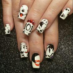 101 dalmations cruella deville disney nail art