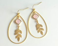 Gold Teardrop Earrings with Ice Pink Glass Stone by TheCoralDahlia, $24.00