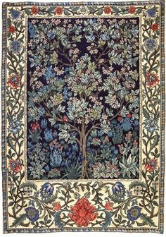 "This is ""Tree of Life"" - a William Morris design that was embroidered by Jane Morris.  The embroidered piece hung in the  bedchamber at Kelmscott Manor.  Definitely check out the museum at Kelmscott Manor at https://www.sal.org.uk/kelmscott-manor/things-to-do/manor-house-and-collections/  Plus, this video of the manor house at https://www.youtube.com/watch?v=Cd39KqtShdc"