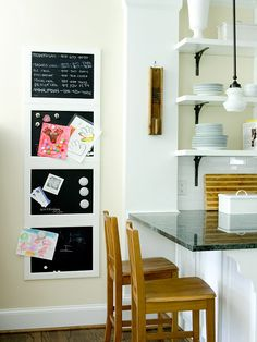 Four magnetic chalkboards hang in a row to form a family command post. Artwork, invites, to-do lists -- they are front and center here. A door painted with magnetic chalkboard paint and hung on the wall would work, too. Wall Storage, Kitchen Storage, Magnetic Chalkboard, Chalkboard Paint, Home Organization, Organizing Solutions, Storage Solutions, Storage Ideas, My New Room