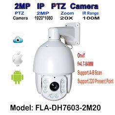 IP Security Dome Camera, 1080P HD 2.0 Megapixel, 20x Optical Zoom Medium Speed PTZ, 100M IR Distance, IP66 Weatherproof Outdoor