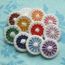 Dorset Buttons - A good World Thinking Day activity for England. Crochet Buttons, Diy Buttons, Button Art, Button Crafts, Yarn Crafts, Bead Crafts, Dorset Buttons, Types Of Buttons, Thinking Day