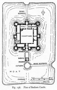 Bodiam Castle - layout inc. Fantasy Castle, Fantasy Map, Medieval Fantasy, Fantasy World, Chateau Medieval, Medieval Castle, Gothic Castle, Castle Layout, Castle Floor Plan