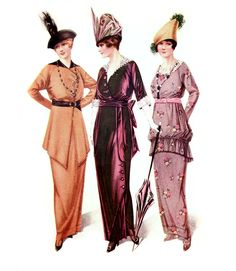 Edwardian and fashion in World War 1: dresses for the aristocracy and aristocratic elegance. Fussy hats! I do not know the author of this picture is, but I chose it because I think it relates to my problem was to find out!