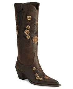 Shepler's Roper Fancy Skull & Floral Embroidered Cowgirl Boots