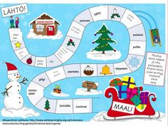 Christmas Activities For Kids Boardgame 001 - Printable Coloring Pages Christmas Board Games, Xmas Games, Christmas Puzzle, Christmas Activities For Kids, Christmas Printables, Christmas Crafts, Christmas Quotes, Christmas Colors, Winter Christmas