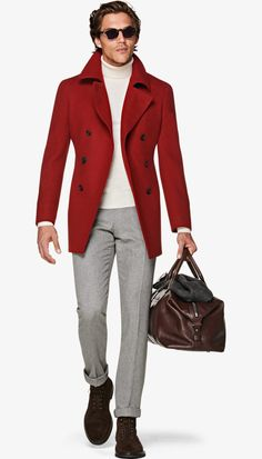 Suitsupply Outerwear: Step up your outerwear game with Suitsupply's sartorial excellence: tapered field jackets, wool peacoats and dapper duffle jackets. Gents Wear, I See Red, Suit Shirts, Tuxedo Jacket, Field Jacket, Winter Wear, Men Dress, Mens Fashion, Suits