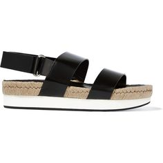 Flamingos Mondrian glossed-leather slingback sandals ($255) ❤ liked on Polyvore featuring shoes, sandals, black, black velcro shoes, black leather sandals, black leather slingbacks, leather shoes and sling back shoes
