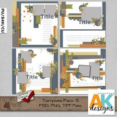 Template Pack 5  includes 4 (12x12) page templates that can be easily sized to 8x8 if you would like. My templates are PU/S4H/S4O/CU friendly. PSD, PNG and TIFF files are included.