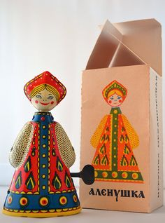 Wind Up Tin Toy Doll Russian Folk Costume by RareAndCurio on Etsy, $15.00