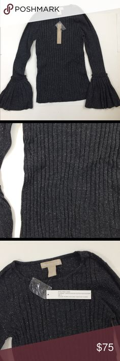 🆕 Design History Ribbed Bell Sleeve sweater NWT. Design History Bell Sleeve sweater.    Color: Hurricane gray heather combo      Fabric: 35% Viscose, 35% Nylon, 15% Cotton, 10% Silk & 5% Cashmere        Have a question leave it in the comments. Design History Sweaters Crew & Scoop Necks