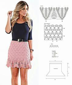 Gjkid Moda Crochet, Crochet Skirt Pattern, Diy Crochet And Knitting, Crochet Woman, Crochet Lace, Crochet Summer Dresses, Crochet Skirts, Crochet Blouse, Knit Skirt