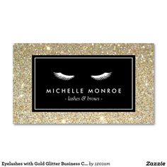 Eyelashes with Gold Glitter Business Card Template for Lash Extensions