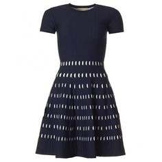 Michael Kors Pointelle Knitted Skater Dress (20.145 RUB) ❤ liked on Polyvore featuring dresses, navy, navy blue dress, navy skater dress, short sleeve dress, knee-length dresses and navy dress