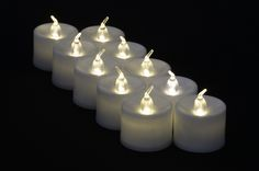 Large Warm White LED Battery Operated Flameless Candles (12 Pack)