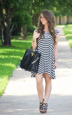 Striped shift dress, baublebar statement necklace, michael kors hamilton handbag