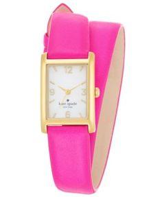 kate spade new york Watch, Women's Cooper Vivid Snapdragon Double Wrap Leather Strap 32x21mm 1YRU0248