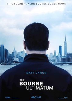 The Bourne Ultimatum , starring Matt Damon, Édgar Ramírez, Joan Allen, Julia Stiles. Jason Bourne dodges a ruthless CIA official and his agents from a new assassination program while searching for the origins of his life as a trained killer. Film Movie, See Movie, Movie List, Movie Titles, Jason Bourne, Matt Damon, Movies And Series, Movies And Tv Shows, Bourne Movies