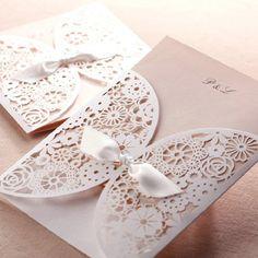 affordable romantic laser cut blush pink lace wedding invitation EWWS001