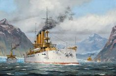 """"""" Great White Fleet in the Straits of Magellan """" … Artist: Patrick O'Brien … Mystic Seaport Museum Collection [USS CONNECTICUT was the largest vessel and also, the flagship of the Fleet]"""