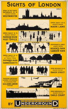 1913 Sights of London by Underground highlighting various attractions, opening hours and the nearest London Underground station. #London #Underground