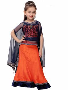 G3 Exclusive Orange Raw Silk Party Wear Lehenga Choli Kids Dress Wear, Kids Gown, Baby Dress, Girls Wear, Little Girl Dresses, Girls Dresses, Kids Lehenga, Lehenga Choli, Kids Ethnic Wear