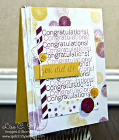 Get Crafty with Lisa:  You Did It!  This You Did it Card features Stampin' Up!'s Bravo Stamp Set and the Moonlight Designer Series Paper Pack, by Lisa Rhine, www.getcraftywithlisa.com