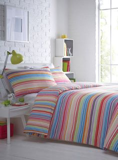 Or stripes...? Decisions to be made for the spare room(s). Brighton stripe printed reversible bedding set