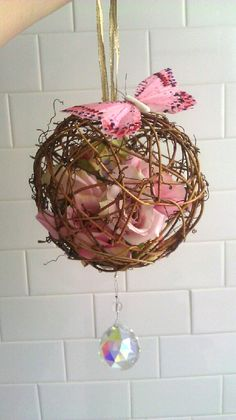 Kissing Ball Rustic Fairy Garden Pomander, Grapevine Ball with Flowers and Butterflies   Keywords: #butterflyweddings #jevelweddingplanning Follow Us: www.jevelweddingplanning.com  www.facebook.com/jevelweddingplanning/