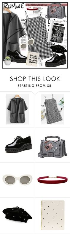 """[ Romwe ]"" by shadowofday ❤ liked on Polyvore featuring Burton, Acne Studios, Humble Chic, Steve Madden, Sugar Paper, casual, monochrome, romwe, plaid and contestentry"