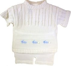 Baby's Trousseau White Knit Boys Two Piece Bunnies Outfit & Hat- Needs long pants not shorts