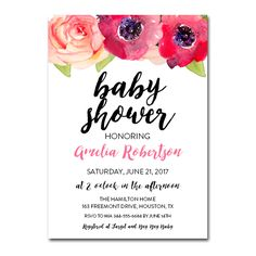 Editable PDF Baby Shower Invitation DIY - Pretty Floral Watercolors - Instant Download Printable- Edit in Adobe Reader