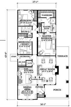 Craftsman Style House Plan - 3 Beds 2 Baths 1628 Sq/Ft Plan #137-267 Floor Plan - Main Floor Plan - Houseplans.com